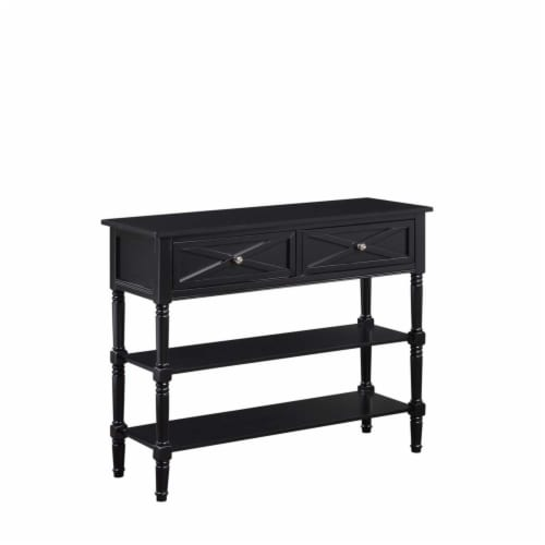Convenience Concepts Country Oxford 2 Drawer Console Table in Black Wood Finish Perspective: front