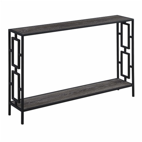 Town Square Black Metal Frame Console Table in Weathered Gray Wood Perspective: front