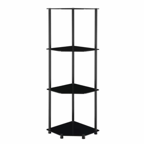 Convenience Concepts 157015BLBL Designs2Go Classic Glass 4 Tier Corner Shelf, Black Perspective: front