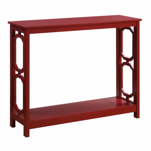 Convenience Concepts Omega Console Table in Cranberry Red Wood Finish Perspective: front