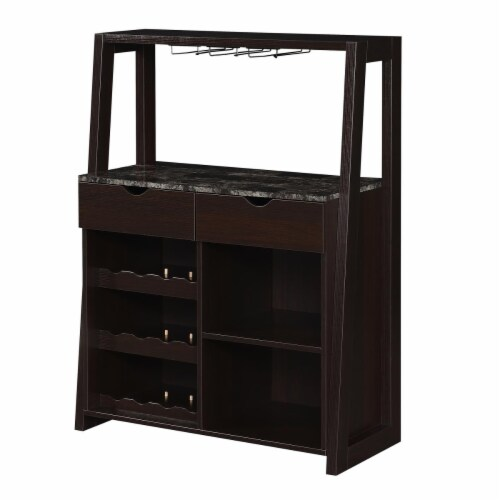 Convenience Concepts Uptown Wine Bar with Cabinet in Espresso Wood Finish Perspective: front