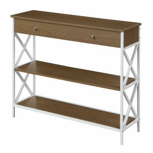 Tucson One-Drawer Console Table in Caramel Wood with White Metal Frame Perspective: front