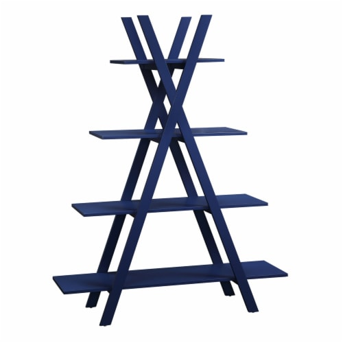 Convenience Concepts Oxford A-Frame Bookshelf in Cobalt Blue Wood Finish Perspective: front