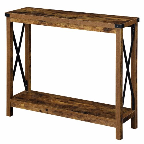 Convenience Concepts Durango Console Table in Nutmeg Wood Finish and Black Metal Perspective: front