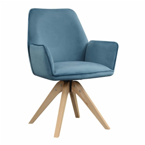 Convenience Concepts Miranda Swivel Accent Chair in Blue Velvet/Natural Wood Perspective: front