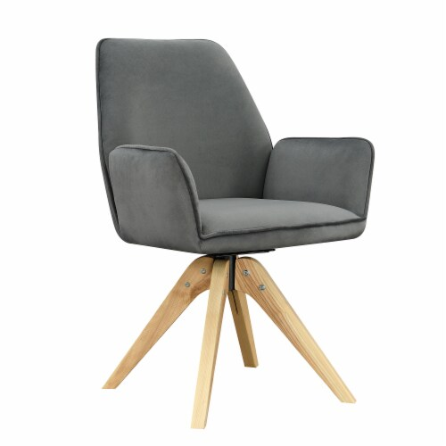 Convenience Concepts Miranda Swivel Accent Chair in Gray Velvet/Natural Wood Perspective: front