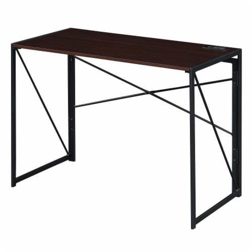 Convenience Concepts Xtra Folding Desk with Charging Station in Espresso Wood Perspective: front