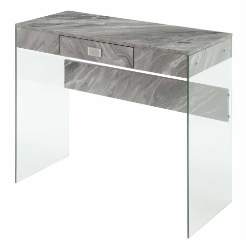 Convenience Concepts Soho 36-inch Glass Desk in Gray Faux Marble Wood Finish Perspective: front