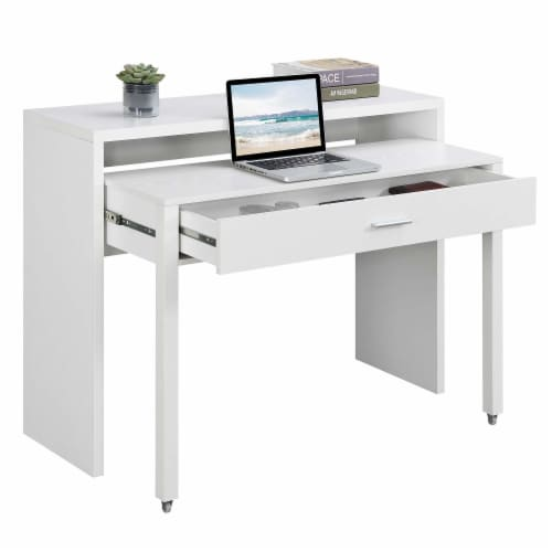 Newport JB Console/Sliding Desk with Drawer and Riser in White Wood Finish Perspective: front