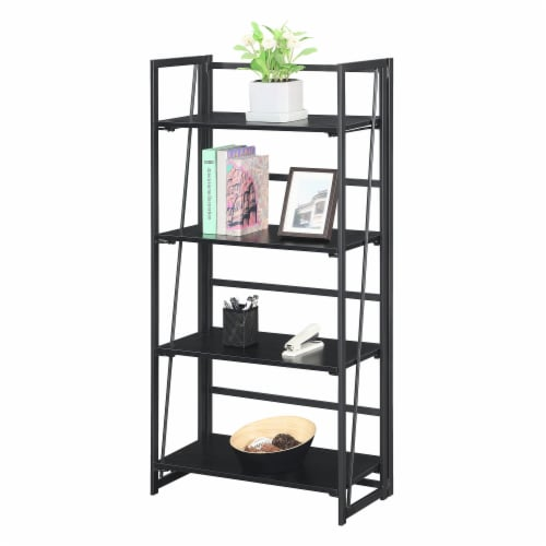 Convenience Concepts Xtra Folding Four-Tier Bookshelf in Black Wood Finish Perspective: front
