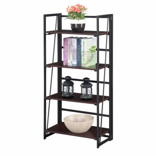 Convenience Concepts Xtra Folding Four-Tier Bookshelf in Espresso Wood Finish Perspective: front