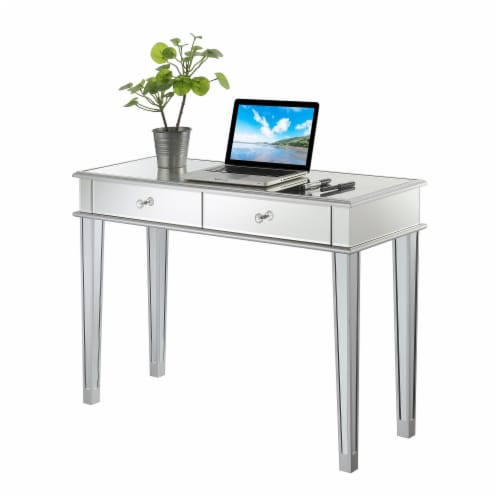 Gold Coast Deluxe Two-Drawer Desk/Console Table in Mirrored Glass Finish Perspective: front