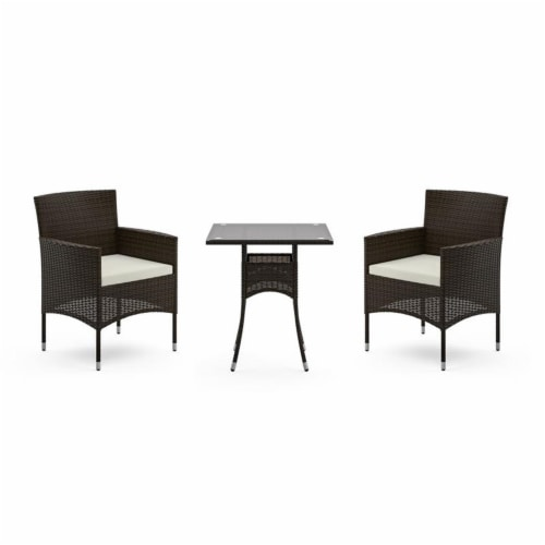Longboat Key Brown Rattan Bistro Table and Chairs Perspective: front