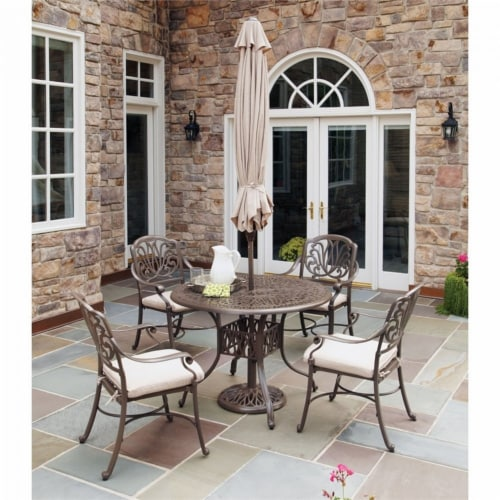 Capri Brown Aluminum 5 Piece Outdoor Dining Set Perspective: front