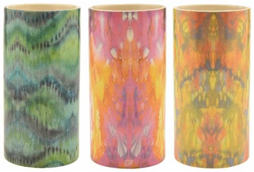 Round Tie Dye Ceramic Assorted Vase Perspective: front