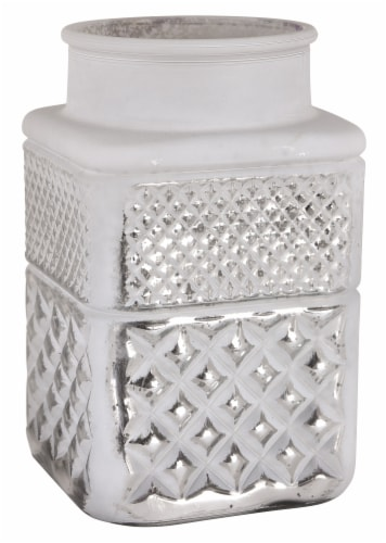 Round Top White & Silver Mercury Glass Embossed Square Vase Perspective: front