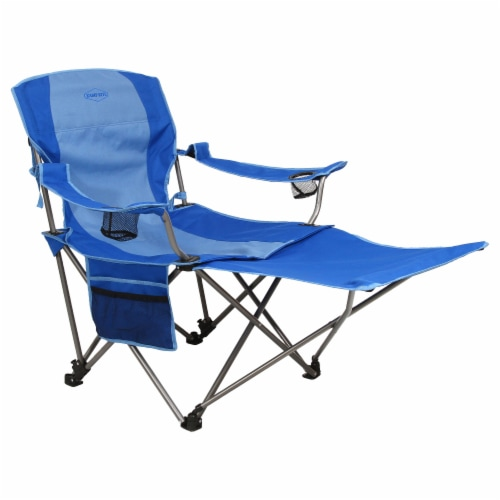 Kamp-Rite Outdoor Camping Beach Patio Folding Chair w/ Detachable Footrest, Blue Perspective: front