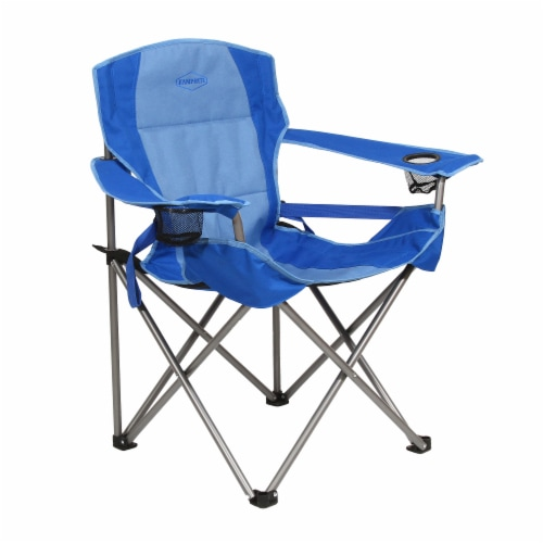 Kamp Rite Padded Folding Camp Chair w/Lumbar Support & Cupholders, Blue Perspective: front