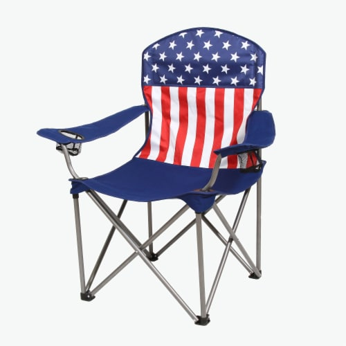 Kamp-Rite Outdoor Camping Beach Patio Sports Folding Quad Lawn Chair, USA Flag Perspective: front
