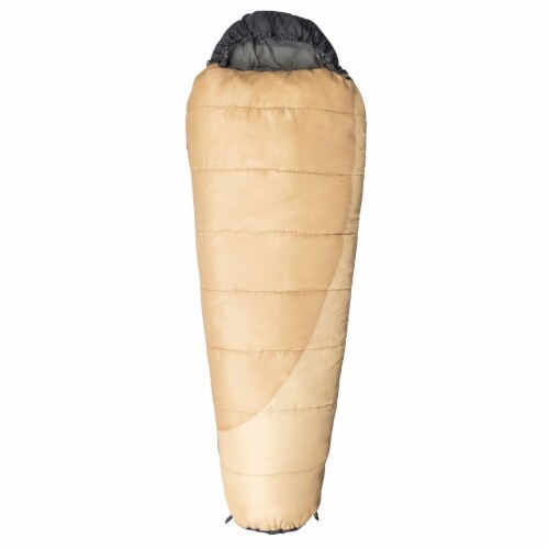 Kamp-Rite 35 x 78 Inch Mummy Camping Style Rip Stop Sleeping Bag 20 Degree, Tan Perspective: front