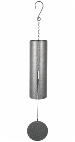"36"" Large Cylinder Bell Chim PEWTER FLECK Perspective: front"