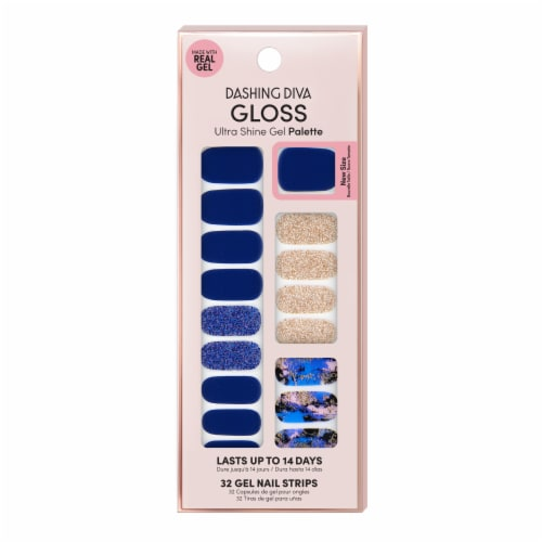 Dashing Diva GS05 Blue Vixon Gloss Ultra Shine Gel Nail Strip Perspective: front