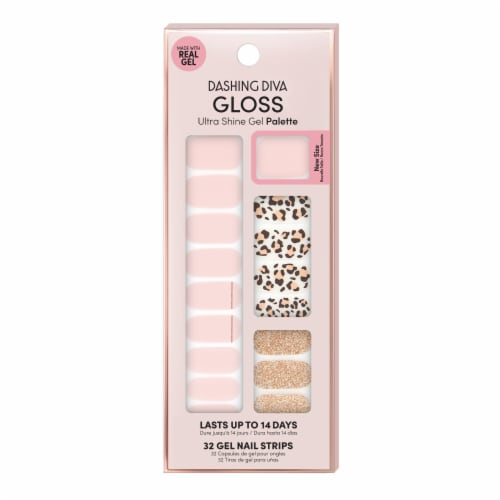Dashing Diva GS18 Cheetah-licious Gloss Gel Nail Strip Perspective: front