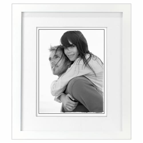 Malden Interior Designs 8x10/11x13 White Linear Matted Picture Frame Perspective: front