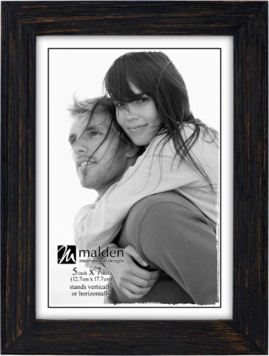 Malden Linear Distressed Frame - Black Perspective: front