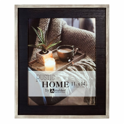 Malden Rustic Woods Wall Picture Frame - Black/Rustic Brown Perspective: front