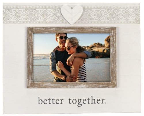 Malden Better Together Rustic Border Picture Frame - White/Brown Perspective: front