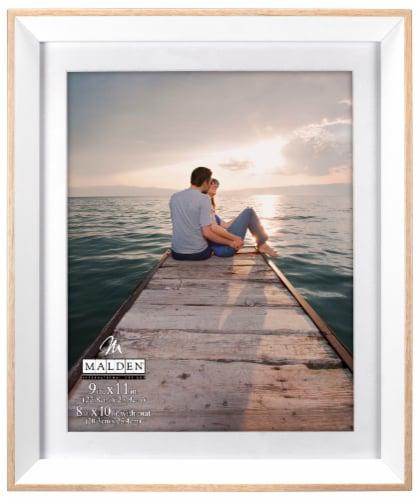 Malden Deep-Set Bevel Matted Picture Frame - White/Natural Perspective: front