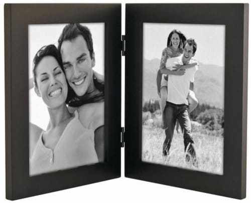 Malden Double Linear Picture Frame - Black Perspective: front