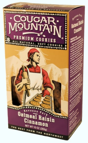 Cougar Mountain Oatmeal Raisin Cookies 8 Count Perspective: front
