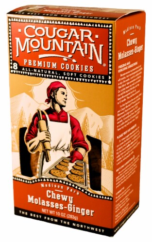 Cougar Mountain Chewy Molasses-Ginger Cookies 8 Count Perspective: front