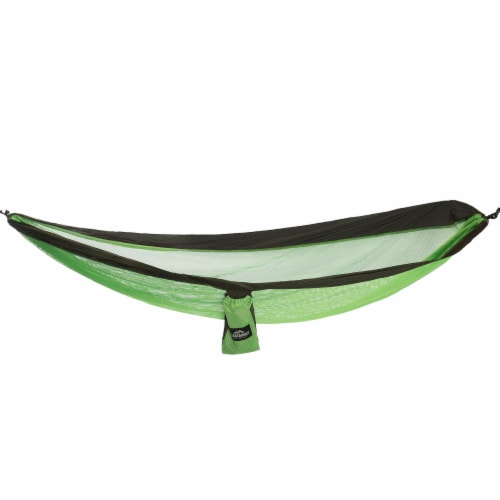 Castaway Hammock Travel Single Mesh Green/Gray Perspective: front