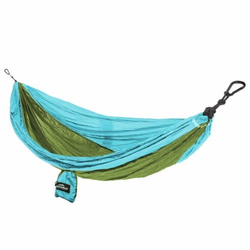 Castaway Hammock Parachute Double Turquoise/Lime Perspective: front