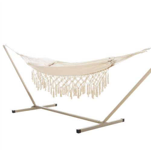 Castaway Hammock Single Layer Finge with Pillow Perspective: front
