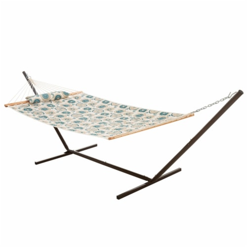 Single 36'' Quilted Fabric Hammock with Hammock Stand and Pillow Combo- Medallion Perspective: front