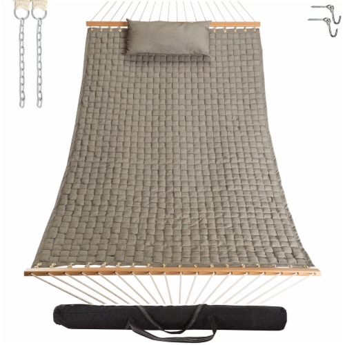 Large Soft Weave Hammock with Pillow & Storage Bag - Flax Perspective: front