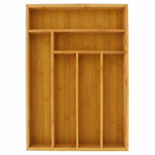 Large Silverware Drawer Organizer, Bamboo-Like Drawer Divider (17 x 12 x 2 In) Perspective: front