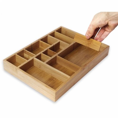 "Kitchen Drawer Bamboo Organizer with Removable Dividers for Cutlery 14 x 10 x 2"" Perspective: front"