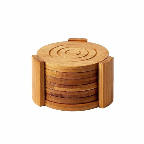 "6-Pack Set Bamboo Wooden Coaster with Holder, Round Cup Coasters, Tan, 4.3"" Perspective: front"