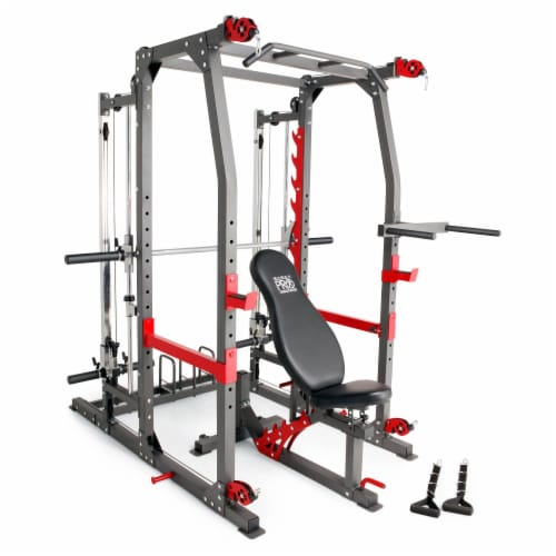 Marcy Pro Smith Machine Weight Bench Home Gym Total Body Workout Training System Perspective: front