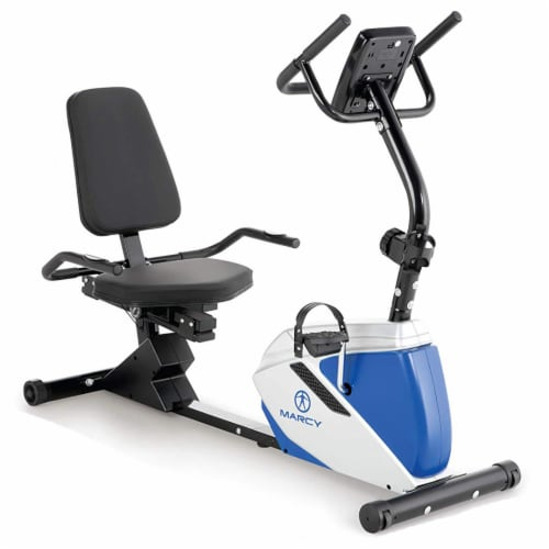 Marcy Sturdy 8 Resistance Magnetic Adjustable Recumbent Home Exercise Bike, Blue Perspective: front