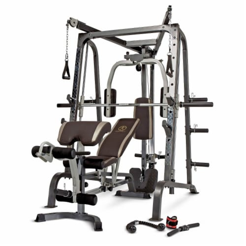 Marcy Deluxe Diamond Elite Smith Cage Home Workout Machine Total Body Gym System Perspective: front