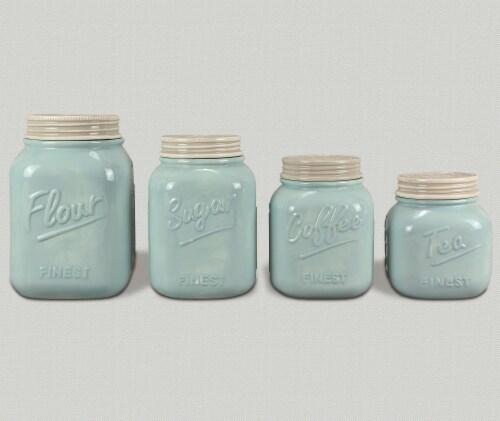 Blue Mason Jar Cannister Set Perspective: front