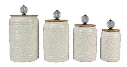Ceramic 4PC. Cannister Set W/Crystal Handles Perspective: front