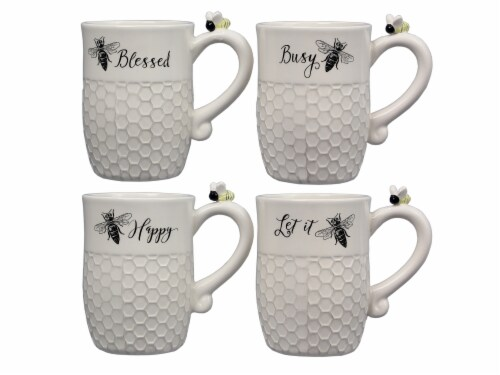 Ceramic Bee Mugs 4 Piece Set Perspective: front