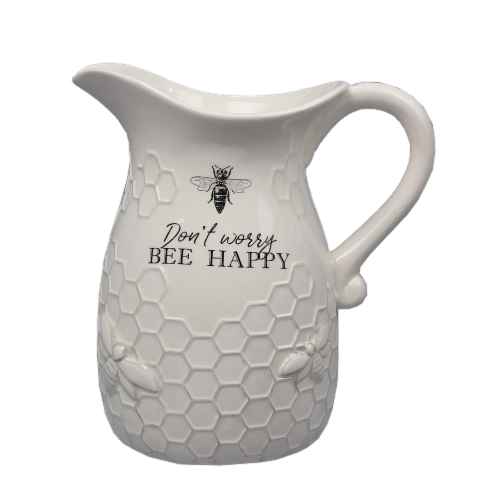 Ceramic Bee Pitcher Perspective: front